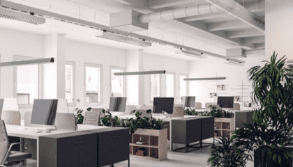 inside ventilated office with desks and plants